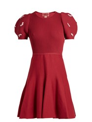 Giambattista Valli Embellished Ribbed Knit Cotton Dress Burgundy
