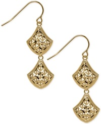 Macy's Openwork Mesh Double Drop Earrings In 14K Gold
