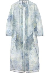 Erdem Mae Printed Silk Organza Coat Blue