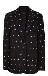 Tibi Embroidered Tropical Wool Boyfriend Blazer