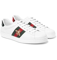Gucci Ace Embroidered Watersnake And Leather Sneakers White