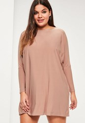 Missguided Plus Size Pink Oversized Slinky Dress Mauve