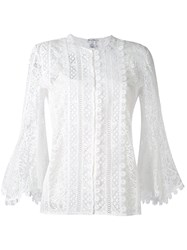 Oscar De La Renta Three Quarters Sleeve Lace Blouse Women Silk Cotton Nylon 4 White