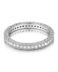 Penny Preville Platinum Engraved Diamond Eternity Band Ring Women's