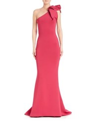 Jovani One Shoulder Bow Mermaid Gown Fuchsia