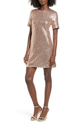Soprano Women's Sequin T Shirt Dress Blush