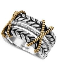 Effy Collection Balissima By Effy Diamond Vintage Look Ring 1 10 Ct. T.W. In Sterling Silver And 18K Gold