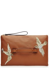 Red Valentino Leather And Sequin Clutch Camel