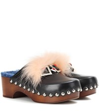 Fendi Embellished Leather Clogs Black