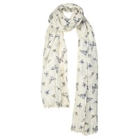 Fat Face Butterfly And Bee Sequin Scarf Off White Multi