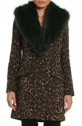Belle Badgley Mischka Women's 'Holly' Faux Fur Collar Boucle Coat Leopard