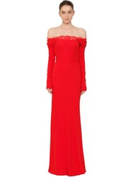 Alexander Mcqueen Off The Shoulder Evening Dress Red
