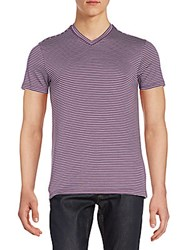 Saks Fifth Avenue Striped V Neck Tee Plum White