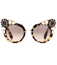 Miu Miu Embellished Cat Eye Sunglasses Brown