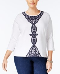 Alfred Dunner Plus Size Uptown Girl Collection Lace Trim Top White