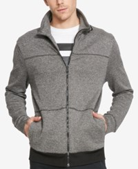 Kenneth Cole Reaction Men's Knit Stand Collar Full Zip Jacket Charcoal Heather