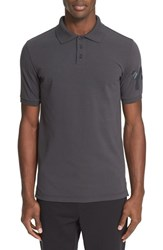 Y 3 Men's Logo Cotton Pique Polo Carbon Grey
