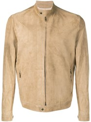 Salvatore Santoro Band Collar Zipped Jacket Neutrals