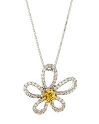 Memoire 18K Jasmine Diamond And Yellow Sapphire Pendant Necklace