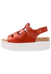 Kmb Vacor Platform Sandals Tin Rojo Polo Orange