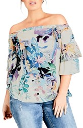 City Chic Plus Size Jungle Off The Shoulder Top Soft Jungle