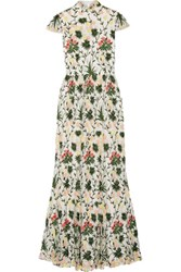 Alice Olivia Arwen Embellished Embroidered Tulle Gown Off White