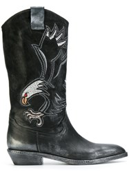 Fausto Zenga Eagle Embroidered Cowboy Boots Leather Wood Black