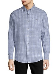 Report Collection Textured Windowpane Button Down Shirt Blue