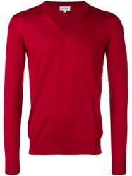 Brioni V Neck Fine Knit Sweater Red