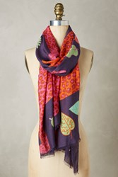 Anthropologie Leopard Lounge Scarf Purple