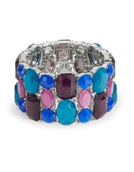 Catherine Stein Three Row Stone Stretch Bracelet Blue