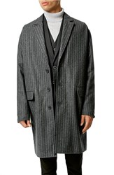 Men's Topman Pinstripe Woolen Duster Jacket