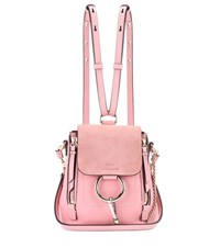 Chloe Faye Mini Leather And Suede Backpack Pink