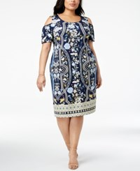 Jm Collection Plus Size Printed Cold Shoulder Sheath Dress Folk Splendor