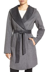 Michael Michael Kors Women's Double Face Hooded Wrap Coat Charcoal Grey