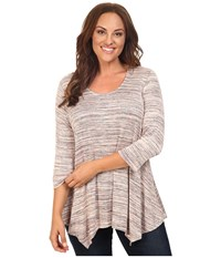 B Collection By Bobeau Curvy Plus Size Langely Space Dye Knit Pink Mix Women's Clothing