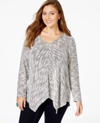 American Rag Plus Size Printed V Neck Sweater Only At Macy's Classic Black Combo