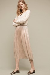 Anthropologie Dusted Metallic Midi Skirt Gold