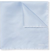 Tom Ford Contrast Tipped Silk Twill Pocket Square Blue