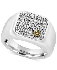 Effy Men's White Sapphire Cluster Ring 1 1 4Ct. T.W. In Sterling Silver And 18K Gold