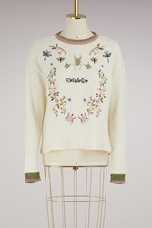 Red Valentino Embroidered Crew Neck Sweater Ecru