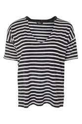 Topshop Choker Acid Stripe T Shirt Charcoal