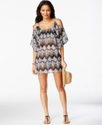 Miken Cold Shoulder Printed Mesh Cover Up Women's Swimsuit