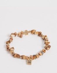 Icon Brand Imitation Sandstone Bracelet With Cross Charm In Brown