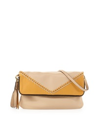 Oryany Alexa Top Stitch Leather Foldover Bag Sand Multi