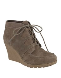 Mia Berdina Suede Lace Up Wedge Boots Stone