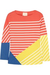 Band Of Outsiders Striped Color Block Cotton Top Orange