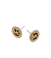 Michael Kors Pave Logo Tortoise Acetate Gold Tone Earrings