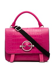 J.W.Anderson Jw Anderson Pink Disc Croc Leather Satchel Bag Pink And Purple