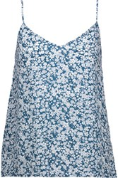 Equipment Layla Floral Print Washed Silk Camisole Teal